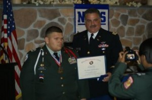 Gabe receiving his JROTC medal