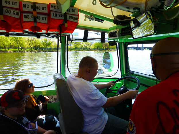 Dangerous Dave taking the wheel of the duck boat!