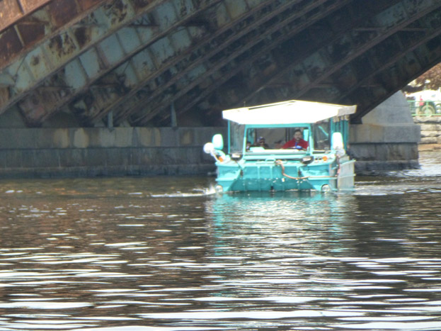 A view of the duck boat in the water